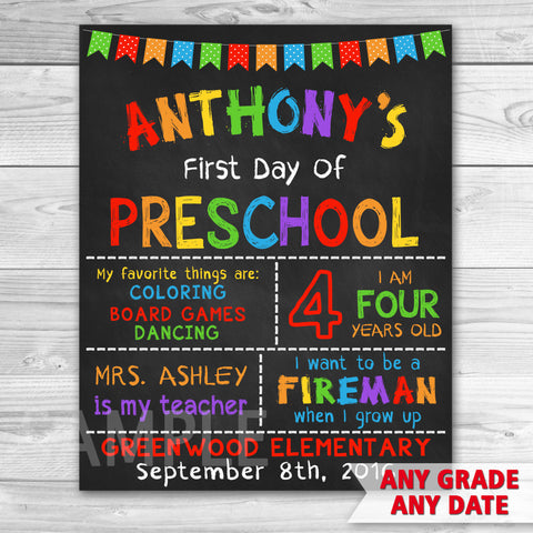 First Day Of School. First Day of Preschool Sign. First Day of First Grade.