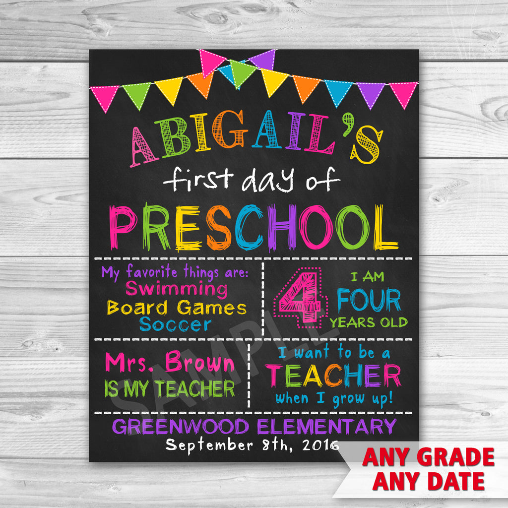 graphic about First Day of School Sign Printable referred to as To start with Working day of Preschool Signal. Initial Working day Of Faculty Signal Printable. Any Quality!