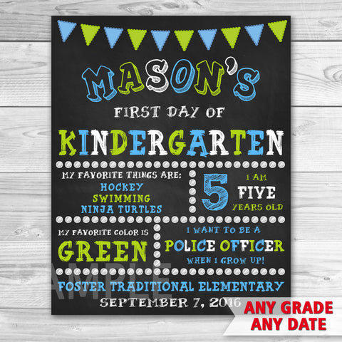 First Day Of School. First Day of Kindergarten Sign. Any Grade.