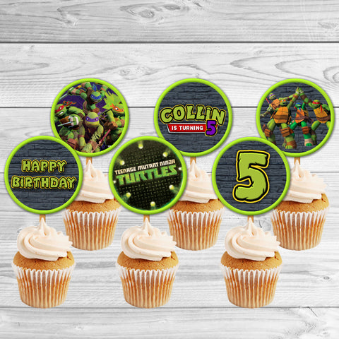 TMNT Ninja Turtles cupcake toppers, TMNT Ninja Turtles Birthday toppers, Teenage Mutant Ninja Turtles Party Favor