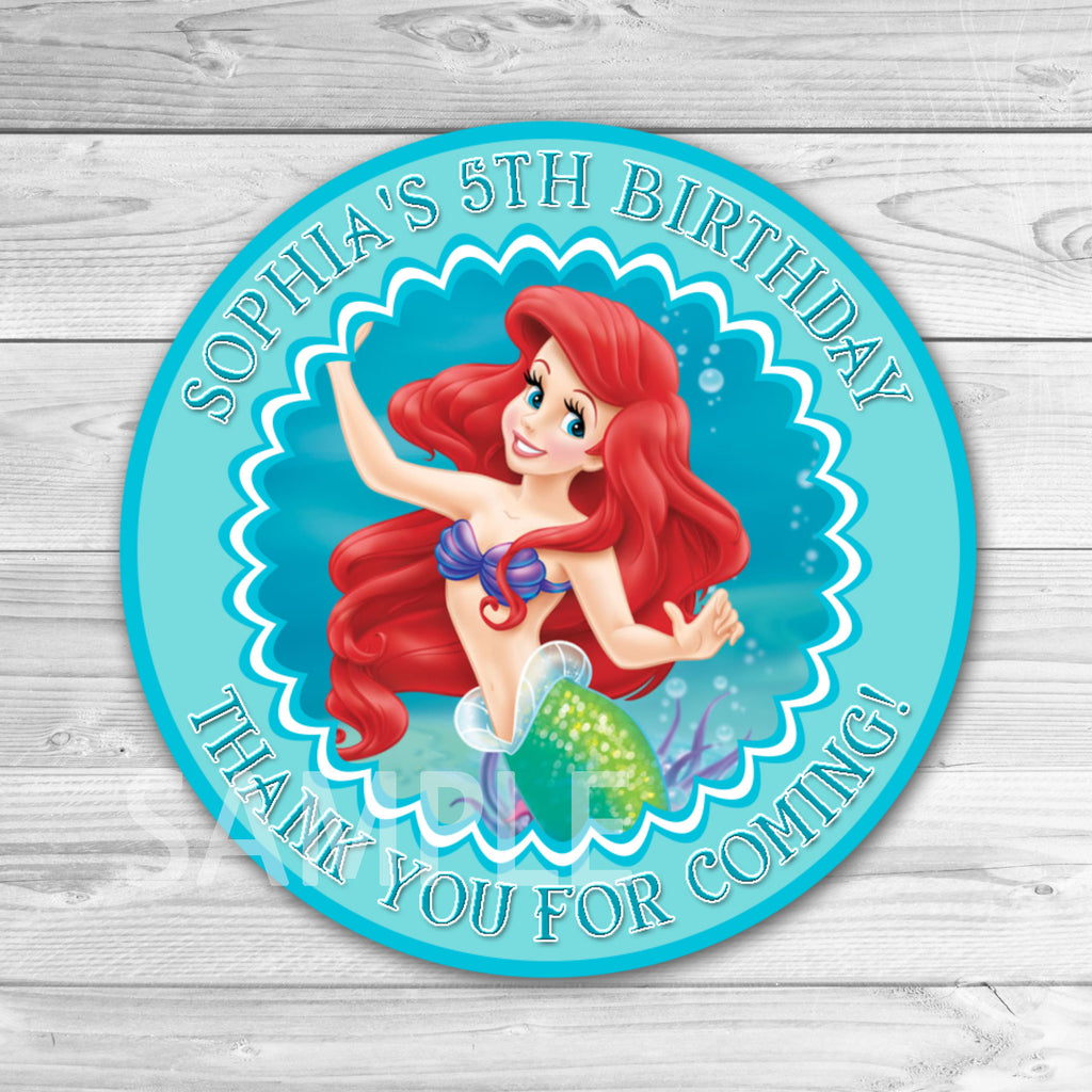 Little Mermaid Tag. Little Mermaid Thank You Stickers. Little Mermaid Ariel Birthday Party Favors.