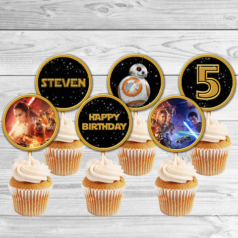 BB-8 Droid The Force Awakens Star Wars cupcake toppers, Star Wars BB-8 Droid Birthday toppers, Star Wars Party Favor