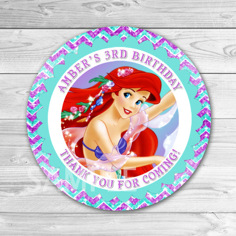 Little Mermaid Thank You Stickers. Little Mermaid Tag. Little Mermaid Ariel Birthday Party Favors.