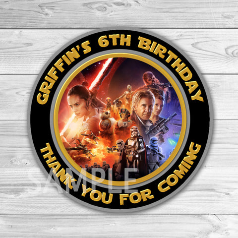 Star Wars Birthday Thank You Tags. Star Wars Thank You Stickers. Star Wars Birthday Party Favors. BB8 Thank You Tag.