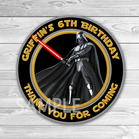 Star Wars Birthday Thank You Tags. Star Wars Thank You Stickers. Star Wars Birthday Party Favors. Darth Vader Thank You Tag.