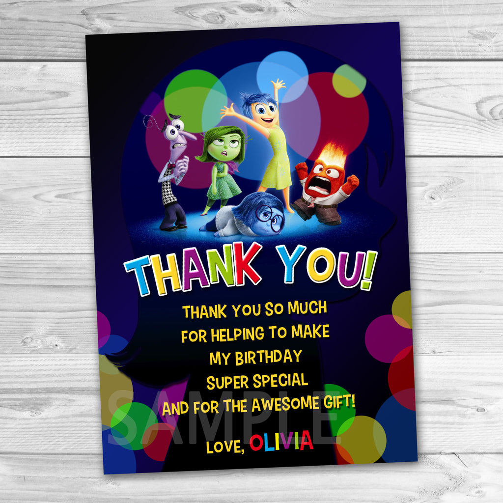 Inside Out Thank You Card. Inside Out Birthday Party Favors. Inside Out Printables.