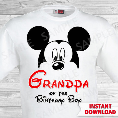 Mickey Mouse Grandpa of the Birthday Boy Iron On