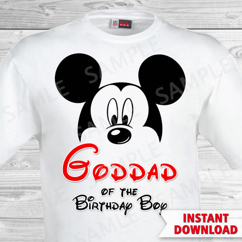 Mickey Mouse Goddad of the Birthday Boy Iron On