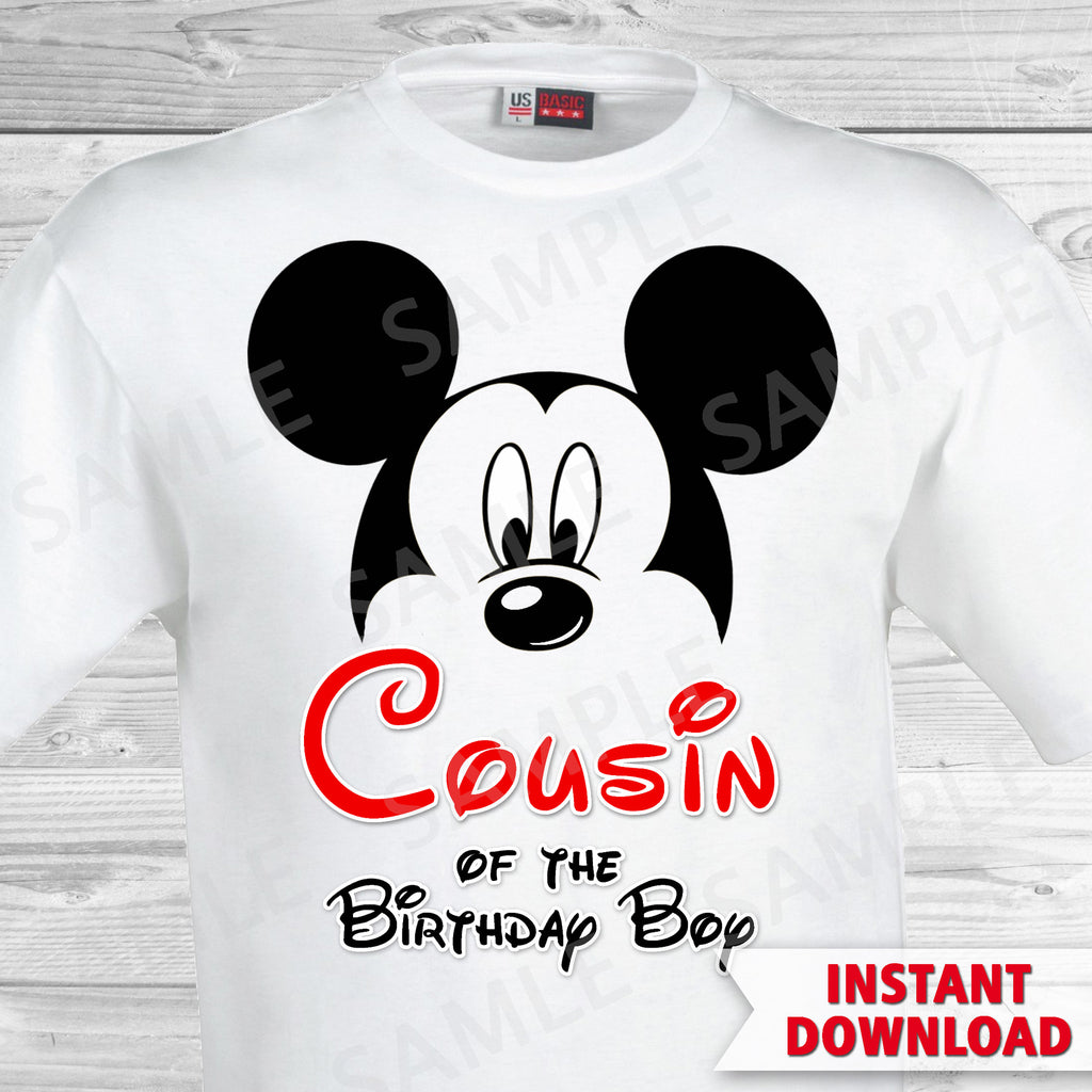 Mickey Mouse Cousin of the Birthday Boy Iron On