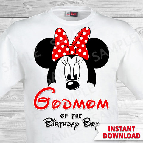 Mickey Mouse Godmom of the Birthday Boy Iron On