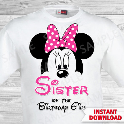 Minnie Mouse Sister of the Birthday Girl Iron On