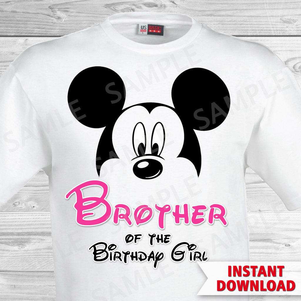 Minnie Mouse Brother of the Birthday Girl Iron On