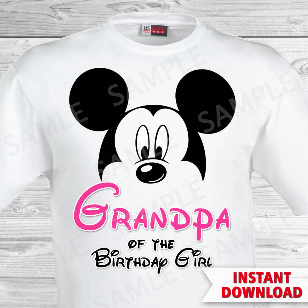 Minnie Mouse Grandpa of the Birthday Girl Iron On