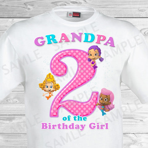 Bubble Guppies Grandpa of the Birthday Girl Shirt. Bubble Guppies Birthday Iron On Transfer.