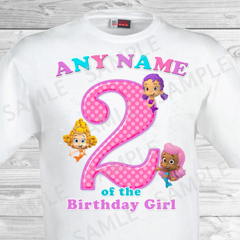 Bubble Guppies Any Name of the Birthday Girl Shirt. Bubble Guppies Birthday Iron On Transfer.