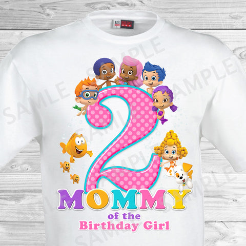 Bubble Guppies Mom of the Birthday Girl Shirt. Bubble Guppies Birthday Iron On Transfer.