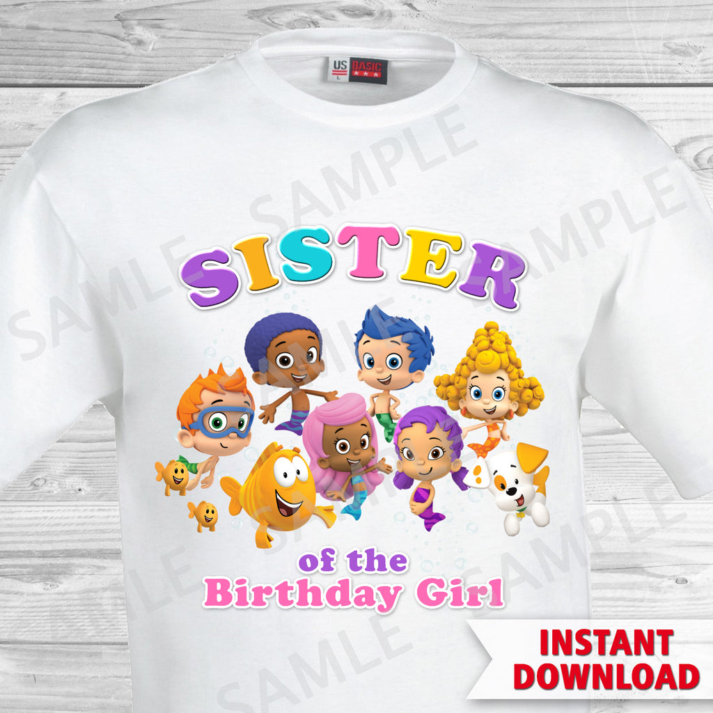 Bubble Guppies Sister of the Birthday Girl Shirt. Bubble Guppies Birthday Iron On Transfer.