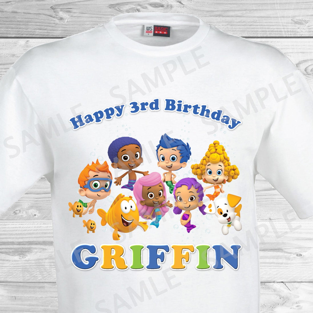 Bubble Guppies Birthday Iron On Transfer. Bubble Guppies Shirt.