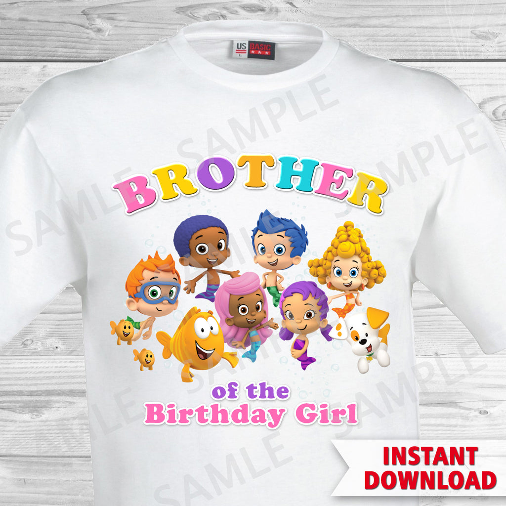 Bubble Guppies Brother of the Birthday Girl Shirt. Bubble Guppies Birthday Iron On Transfer.