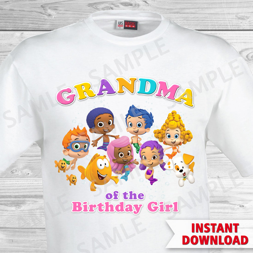 Bubble Guppies Grandma of the Birthday Girl Shirt. Bubble Guppies Birthday Iron On Transfer.