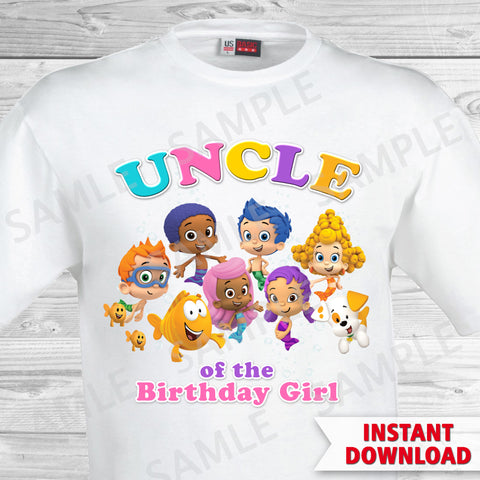 Bubble Guppies Uncle of the Birthday Girl Shirt. Bubble Guppies Birthday Iron On Transfer.