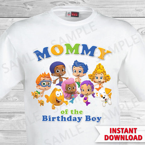 Bubble Guppies Mom of the Birthday Boy Shirt. Bubble Guppies Birthday Iron On Transfer.