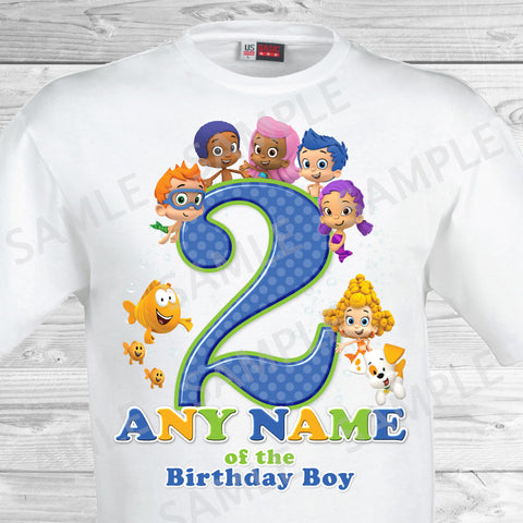 Bubble Guppies Any Name of the Birthday Boy Shirt. Bubble Guppies Birthday Iron On Transfer.