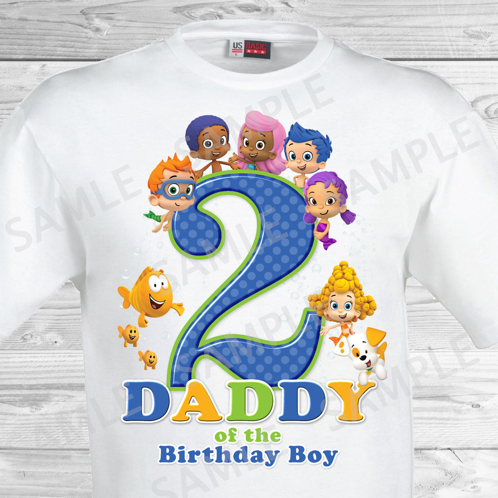 Bubble Guppies Dad of the Birthday Boy Shirt. Bubble Guppies Birthday Iron On Transfer.