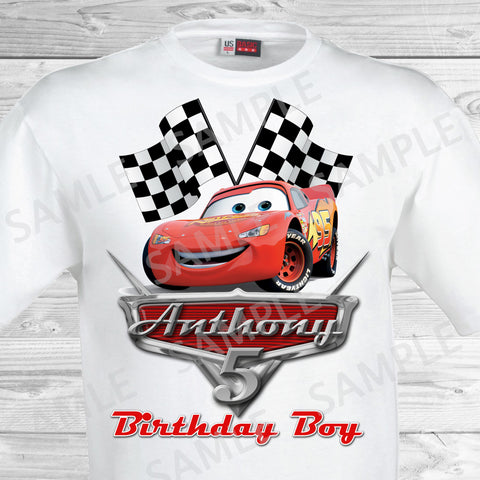 Disney Cars Iron On. Disney Cars Birthday Shirt. Disney Cars Birthday Party Transfer. Lightening McQueen