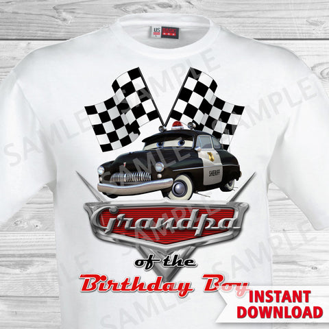 T-shirt Cars Iron On. Cars Birthday Grandpa of the Birthday Boy Iron On Transfer. Cars Printable Birthday Boy.