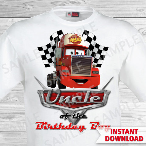 Cars Birthday Uncle of the Birthday Boy Iron On Transfer. Cars Printable Birthday Boy.