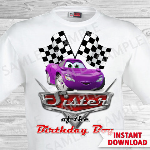 Cars Birthday Sister of the Birthday Boy Iron On Transfer. Cars Printable Birthday Boy.