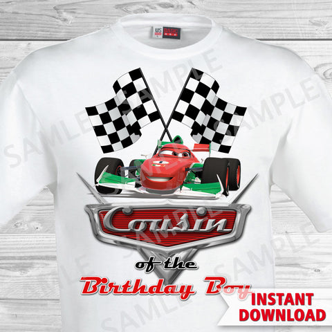 Cars Birthday Cousin of the Birthday Boy Iron On Transfer. Cars Printable Birthday Boy.