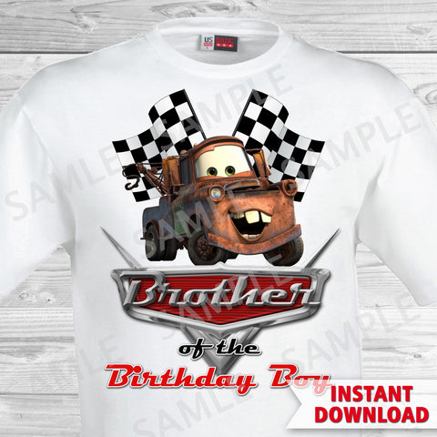 Cars Birthday Brother of the Birthday Boy Iron On Transfer. Cars Printable Birthday Boy.