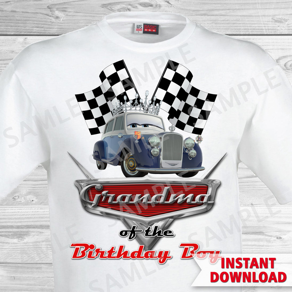 Cars Birthday Grandma Of The Boy Iron On Transfer Print Partyforyoudesigns