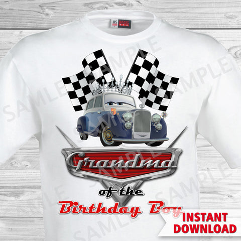 Cars Birthday Grandma of the Birthday Boy Iron On Transfer. Cars Printable Birthday Boy.