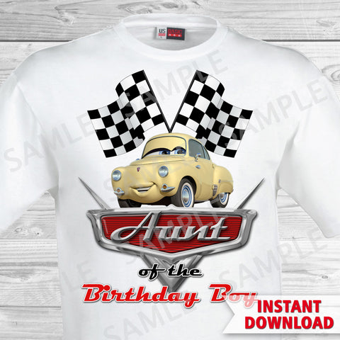 Cars Birthday Aunt of the Birthday Boy Iron On Transfer. Cars Printable Birthday Boy.