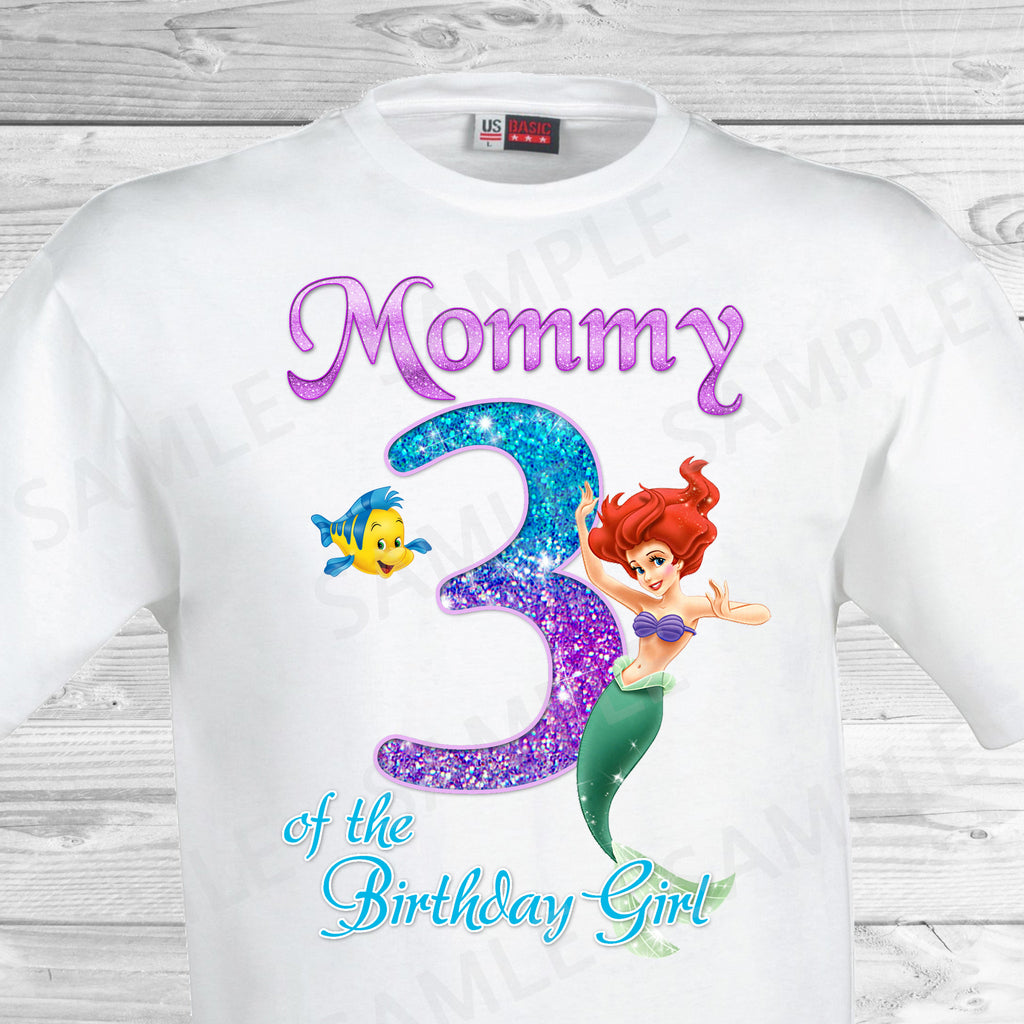 Little Mermaid Mom of the Birthday Girl Shirt. Ariel Birthday Iron On Transfer. Little Mermaid Ariel Birthday Shirt.