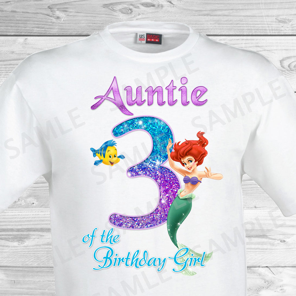 Little Mermaid Aunt of the Birthday Girl Shirt. Ariel Birthday Iron On Transfer. Little Mermaid Ariel Birthday Shirt.