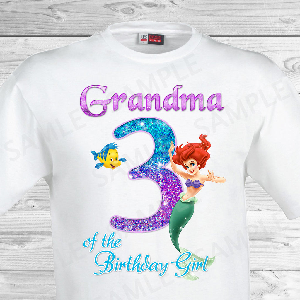 Little Mermaid Grandma of the Birthday Girl Shirt. Ariel Birthday Iron On Transfer. Little Mermaid Ariel Birthday Shirt.