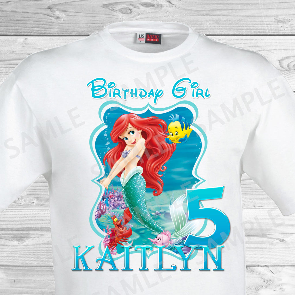 Little Mermaid Birthday Iron On Transfer Ariel Trans Partyforyoudesigns