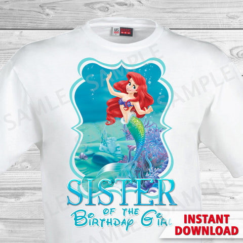 Little Mermaid Sister of the Birthday Girl Shirt. Ariel Birthday Iron On Transfer. Little Mermaid Ariel Birthday Shirt.