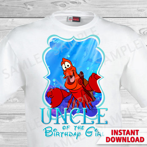Little Mermaid Uncle of the Birthday Girl Shirt. Ariel Birthday Iron On Transfer. Little Mermaid Ariel Birthday Shirt.