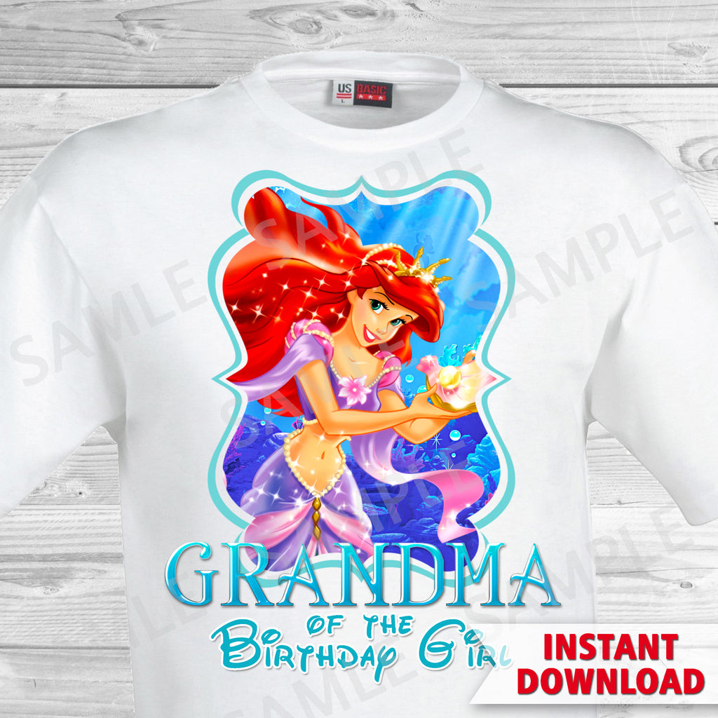 Little Mermaid Grandma Of The Birthday Girl Shirt Ariel Iron Partyforyoudesigns