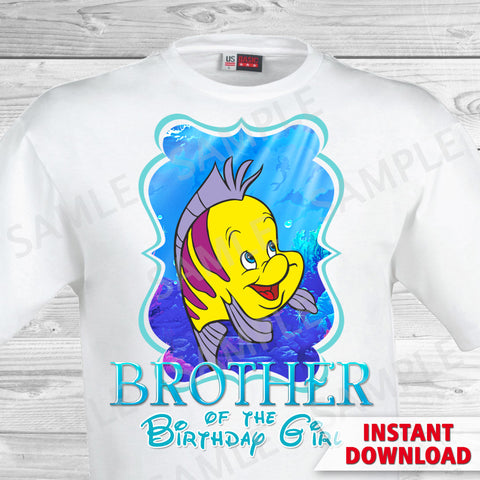 Little Mermaid Brother of the Birthday Girl Shirt. Ariel Birthday Iron On Transfer. Little Mermaid Ariel Birthday Shirt.