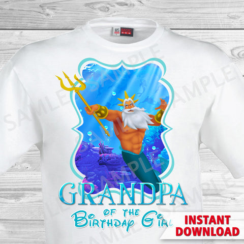 Little Mermaid Grandpa of the Birthday Girl Shirt. Ariel Birthday Iron On Transfer. Little Mermaid Ariel Birthday Shirt.