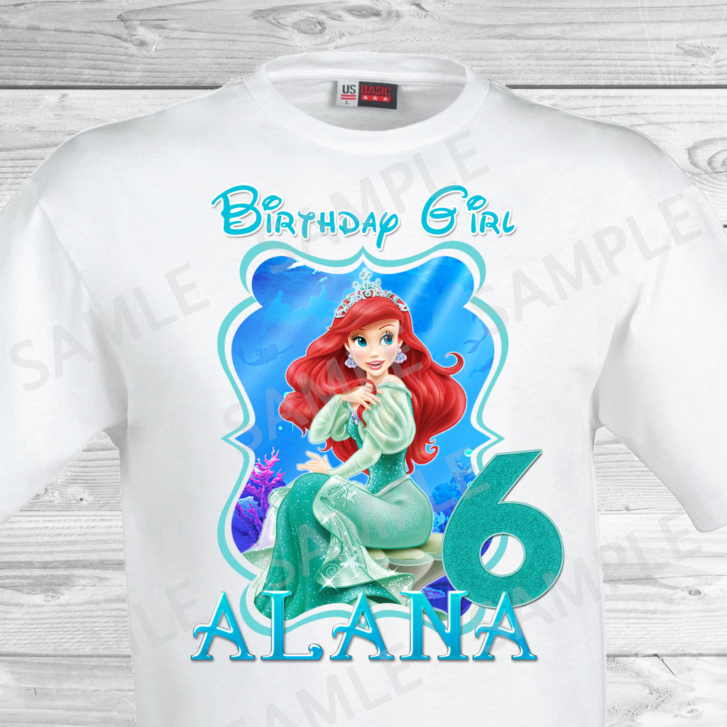 Little Mermaid Birthday Iron On Transfer. Ariel Birthday Iron On Transfer. Little Mermaid Ariel Birthday Shirt.
