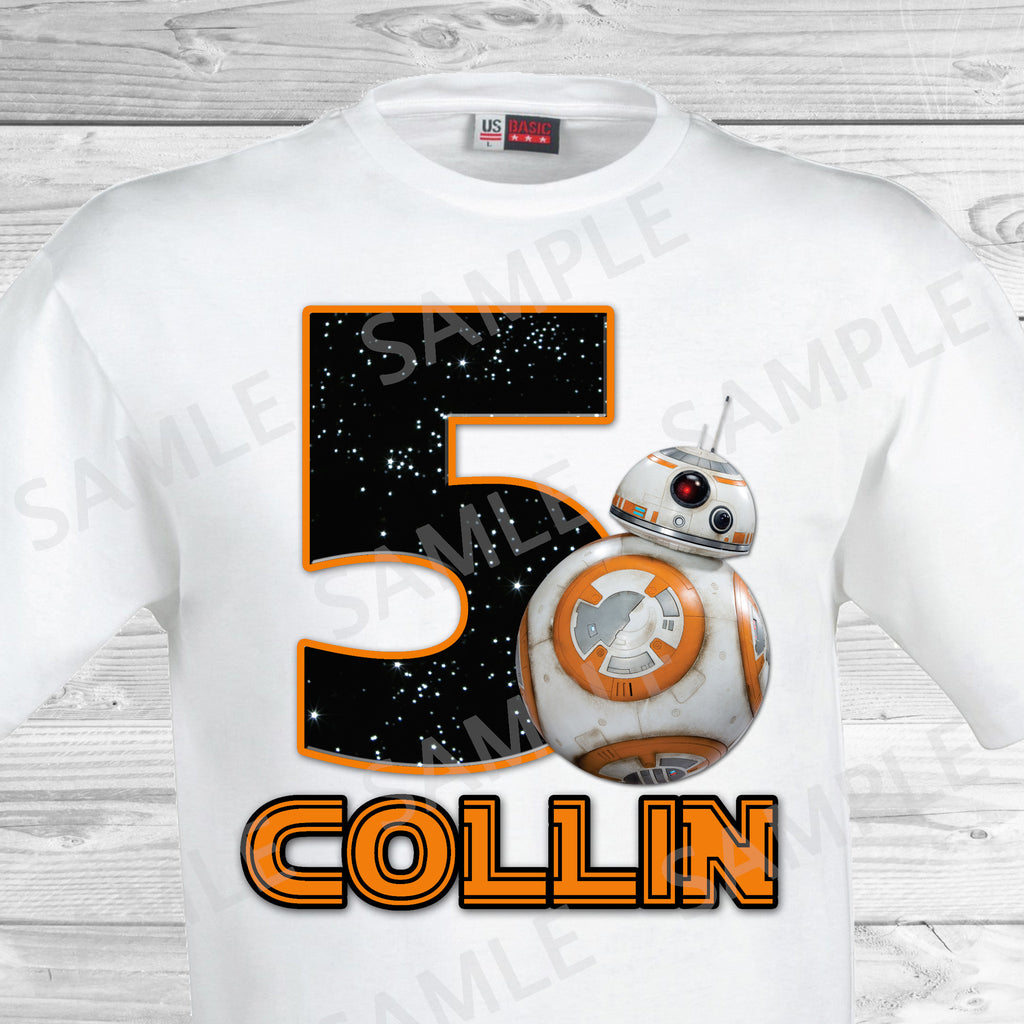 Star Wars Iron On. Star Wars Birthday Shirt. Star Wars Birthday Party Transfer. BB8 Iron On.