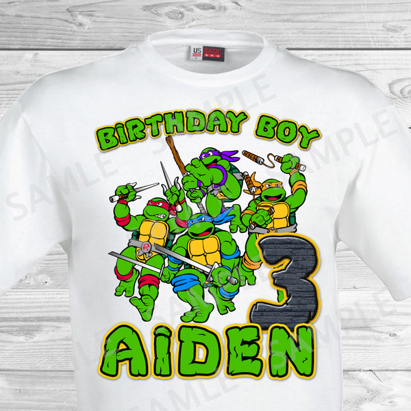 teenage mutant ninja turtles iron on tmnt birthday shirt
