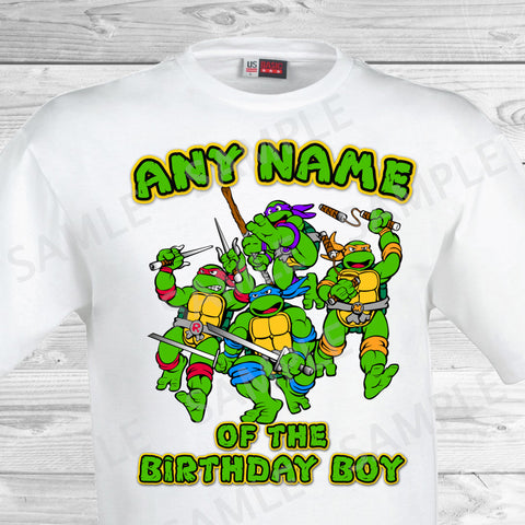 Teenage Mutant Ninja Turtles Iron On. TMNT Ninja Turtles Any Name of the Birthday Boy Shirt. Teenage Mutant Ninja Turtles Birthday Party Transfer. TMNT Party.